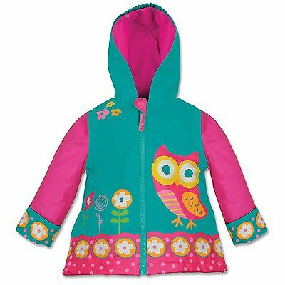 Stephen Joseph Girls Owl Raincoat Teal Pink Flowers Size 5 6
