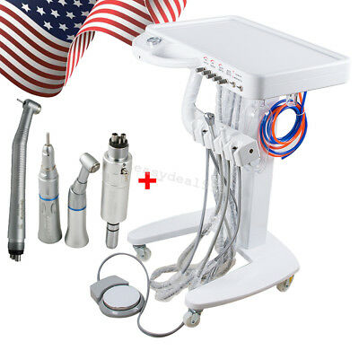 Portable Dental Delivery Mobile Cart Unit Equipment 4 Hole Syringe Handpiece Kit