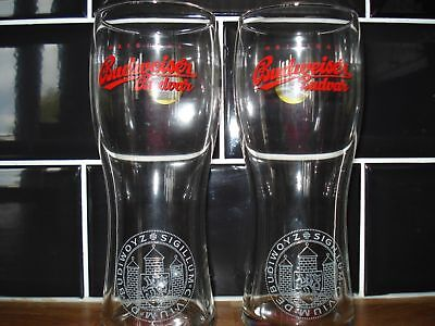 Budweiser Red Ribbon  Pint Glasses (X2) - New  / Ce Stamped / Nucleated (15)
