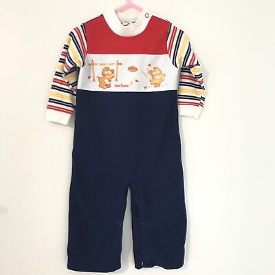 Vintage 80's Care Bears Football One Piece Baby Outfit Size 18 Months