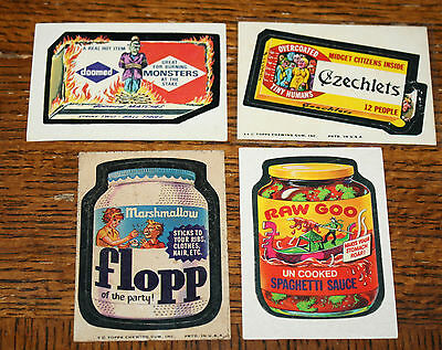 4 vintage 1975 WACKY PACKAGES Sticker Cards Raw Goo Czechlets Doomed Matches etc
