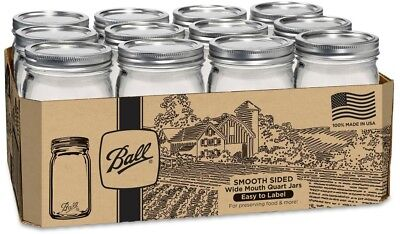 Ball Smooth Sided 12ct Glass Canning Jar Mason Quart Lid Wide Mouth 32 Oz Jars