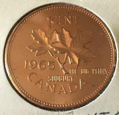 "1965 Canada Commemorative ""The Big Penny"" Sudbury Coin - Nice!"