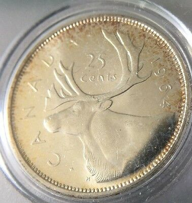 1964 Canada Silver Quarter Proof Like W/Luster