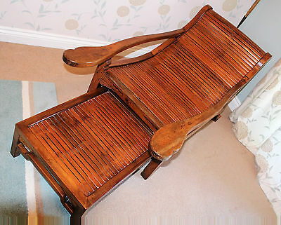 PLANTATION CHAIR/FOOTSTOOL   COLONIAL Polished Bamboo and Teak  STUNNING