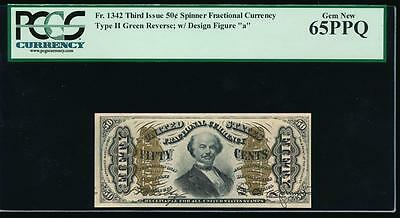 AC Fr 1342 $0.50 fractional 3rd issue PCGS 65PPQ green back 'a' on front SPINNER