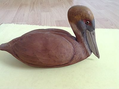 American Wild Fowl Series 1985 Wood PELICAN Hand Carved Painted Signed