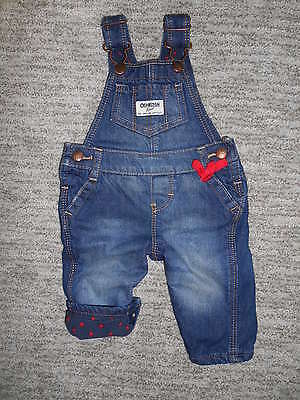 Osh Kosh Fleece Lined Denim Overalls ~ Size 3 Months