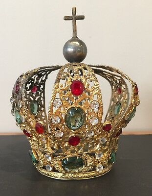 Large Old French Antique Bejewelled Santo Crown Statue religious