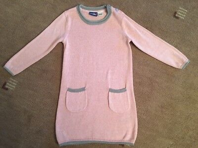 Baby Girls Long Sleeve Cotton Knitted Dress In Pink & Grey - 18-24 Months