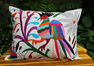 #2 Otomi Pillow Multi-Color Hand Embroidered Mexican Folk Art Decorator Favorite