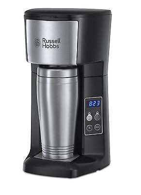 22630 Russell Hobbs Brew & Go Coffee Machine, 400ml Travel Mug, Silver/Black (B)