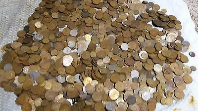 Lot/Bulk: 5 Pounds Mixed Circulated OLD Foreign Coins - all 1970 & older + 1800s