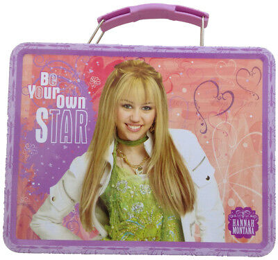 Hannah Montana Square Tin Stationery Small Lunchbox Lunch Box - Orange