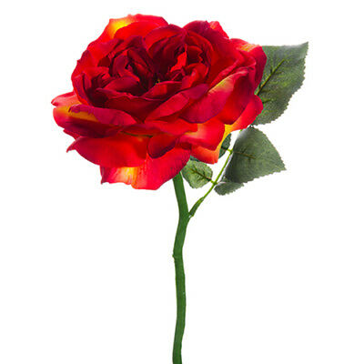"""12.5"""" Silk Large Rose Flower Spray -Tomato/Red (pack of 24)"""