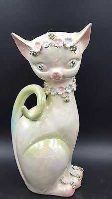Vintage Lefton Japan 319 Lusterware Jeweled Eyes Tall Cat Vase Figurine 1950's