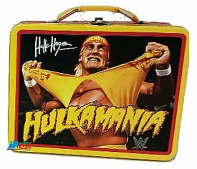 "WWE Hulk Hogan Square Carry All Tin Lunch Stationery Box - ""Hulkamania"""