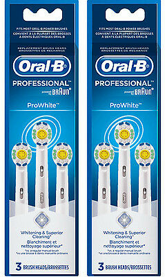 New Genuine ORAL B PROFESSIONAL PRO WHITE Replacement Heads - 6 Count