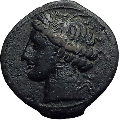 CARTHAGE in ZEUGITANA 300BC Authentic Ancient Greek Coin TANIT & HORSE i63360