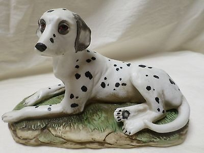 VINTAGE Homco Dalmatian Dog Figurine #1403, LOVELY FACE, RELAXING ON BED GRASS
