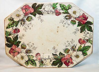 Antique Staffordshire Cotton Plant Floral Gilded Platter~Ironstone~Sweet Piece