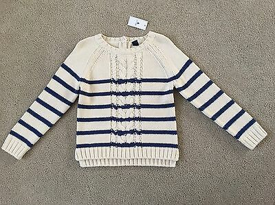 New Baby Gap Ivory & Navy Blue Striped Cable Knit Sweater Size 5T Nwt