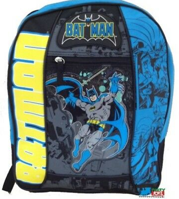 "Batman Large 16"" Cloth Backpack Book Bag Pack - Black/Blue/Yellow"