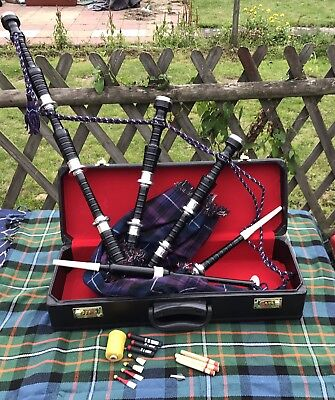 CC Great Highland Bagpipe Silver Mounts/Scottish Bagpipes with Hard Case/chanter