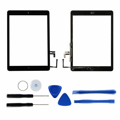 For iPad air 5th Touch Screen Glass Replacement with IC Chip+Home button Black