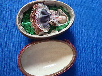 Delightful Vintage Miniature Doll In Satin Covered Egg