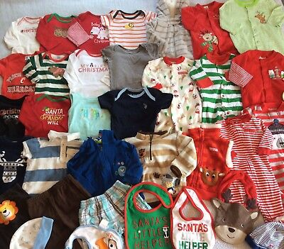 Great Baby Boy Clothes Holiday Lot 3-6 Months 33 Pieces Christmas