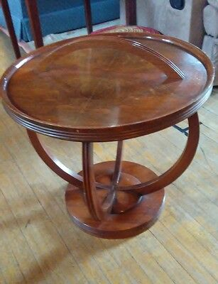 Vintage Art Deco Era Walnut Wood Tray Top Side Table