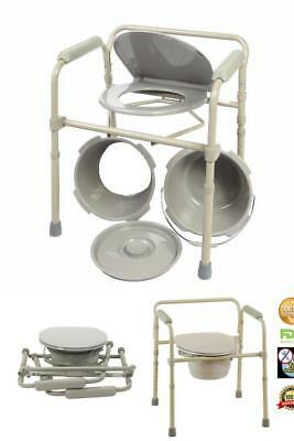 Adult Commode Chair Raised Over Toilet Seat Bedside Bathroom Potty Bucket Travel