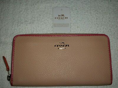 NWT Coach Women's Accordion Zip Around Wallet Leather F12585 Nude Pink/Multi