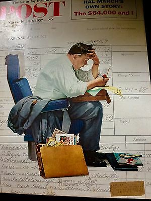 """Vintage Norman Rockwell Magazine Cover :balancing Expense Account"""" Wow!"""
