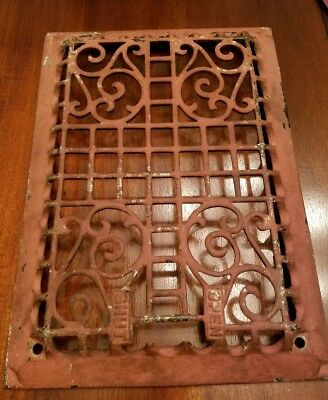 Antique Cast Iron Victorian Heat Grate Register Vent Vintage Ornate Open Shut