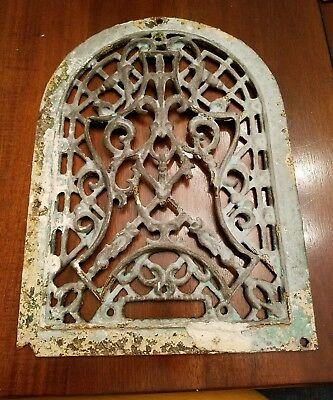 Vintage Antique Unique Cast Iron Arch Top Dome Heat Grate Wall Register Gothic