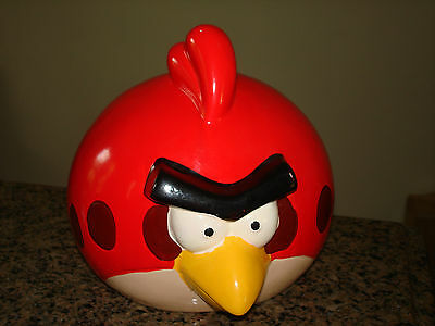 """Rovio Entertainment Red Ceramic Angry Birds Character 7"""" Tall Money Coin Bank"""