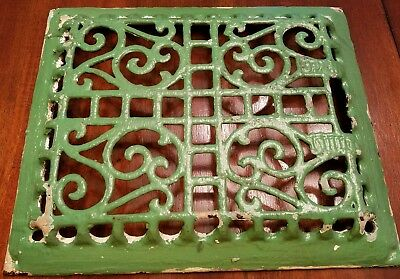 Antique Cast Iron Victorian Heat Grate Register Vent Vintage Ornate Primitive
