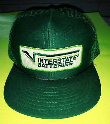 Vintage INTERSTATE BATTERIES Trucker Hat Adjustable Snapback Cap Hat Advertising