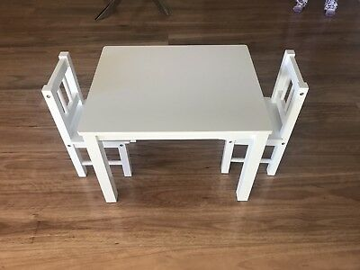 White Timber Kids Table And Chairs