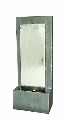 NEW 1.2M  TALL GLASS WATER FALL- Outdoor Designer Quality Silver Grey Frame