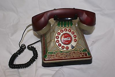 Coca-Cola Stained Glass Look Vintage Style Telephone Phone Old Fashioned