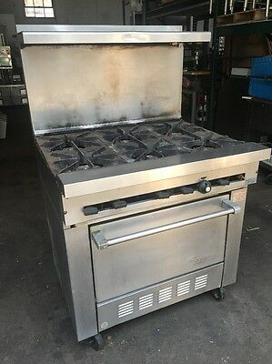 Sunfire COMMERCIAL NATURAL GAS 6 BURNERS S.S. STOVE/RANGE w/OVEN