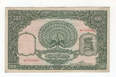 B56 Burma 100 Kyats 1953-1958 P-45 Banknote Paper Money Antique Currency