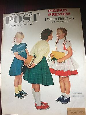 """Vintage Norman Rockwell Cover Sat. Evening Post """"girl Showing Off Missing Tooth!"""