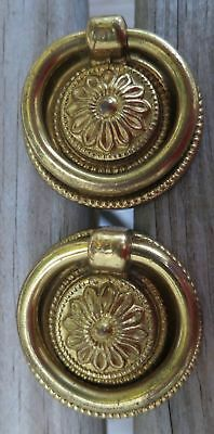 """Two Superb Quality Vintage RIng Drawer Pulls with Beaded Rosettes 1½"""" Diameter"""