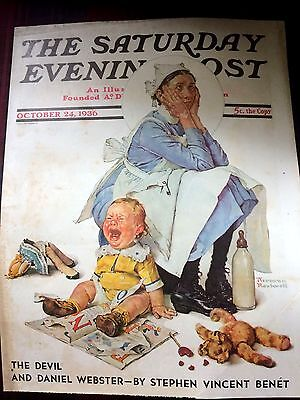 """Vintage Norman Rockwell Cover Saturday Evening Post""""dexasperated Nanny!"""" 1936 E"""