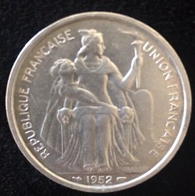 1952 French Aluminum Oceania 5 Francs - Very Hard To Find Coin - Xf