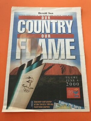 The Herald Sun 2000 Olympic Torch Relay Souvenir And Wall Poster.